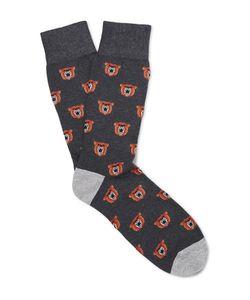 Corgi | Bear-Patterned Cotton-Blend Socks