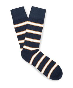 Corgi | Striped Cotton-Blend Socks