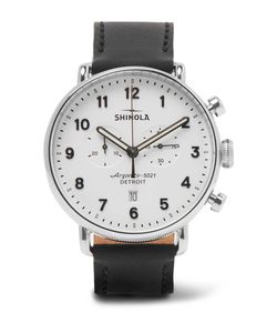 SHINOLA | The Canfield Chronograph 43mm Stainless Steel And Leather Watch