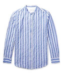 Officine Generale | Gaspard Striped Grandad-Collar Cotton-Voile Shirt