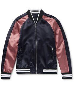 Solid Homme | Slim-Fit Appliquéd Satin Bomber Jacket