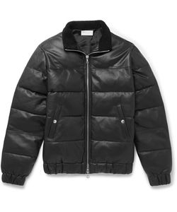 John Elliott | Shearling-Trimmed Quilted Leather Down Jacket
