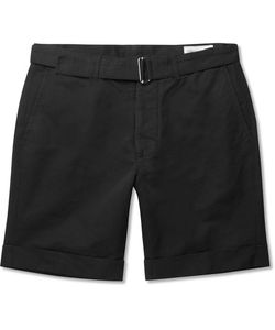 Officine Generale | Julian Belted Cotton And Linen-Blend Shorts