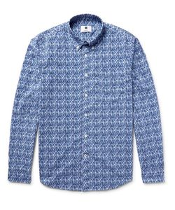 NN07 | Falk Slim-Fit Button-Down Collar Printed Cotton-Poplin Shirt