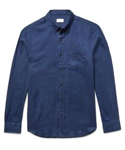 Club Monaco | Slim-Fit Button-Down Collar Slub Linen Shirt Storm