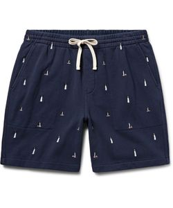 J.Crew | Lighthouse Embroidered Loopback Cotton-Jersey Shorts