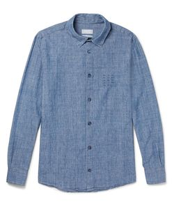 A.P.C. | . Chemise 87 Embroidered Cotton-Chambray Shirt