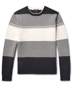 TODD SNYDER | Herringbone Striped Cotton Sweater
