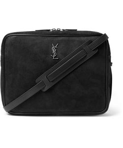 Saint Laurent | Leather-Trimmed Nubuck Messenger Bag