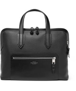 Smythson | Greenwich Leather-Trimmed Lacquered-Cotton Briefcase