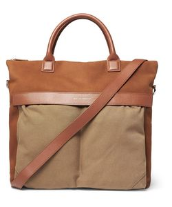 Want Les Essentiels | Ohare Leather-Trimmed Suede And Organic Cotton-Canvas Tote
