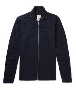 S.N.S. HERNING | Torso Panelled Textured-Knit Wool Zip-Up Sweater