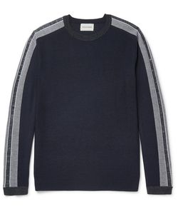 Solid Homme | Slim-Fit Stripe-Trimmed Wool Sweater