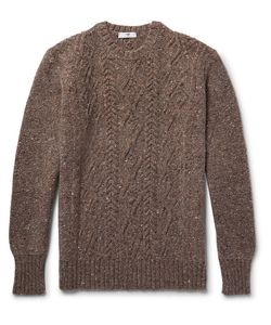INIS MEÁIN | Aran Cable-Knit Mélange Merino Wool And Cashmere-Blend Sweater