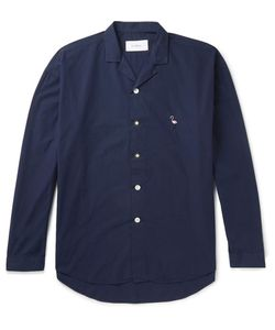 SECOND/LAYER | Camp-Collar Embroidered Cotton-Poplin Shirt