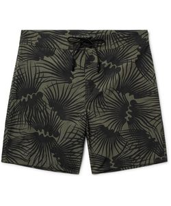 OUTERKNOWN | Happy Evolution Long-Length Printed Econyl Swim Shorts Army
