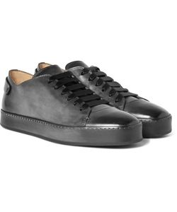 Santoni | Burnished-Leather Sneakers