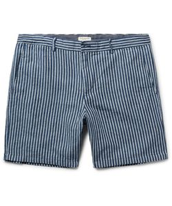 Club Monaco | Baxter Striped Linen And Cotton-Blend Shorts Storm