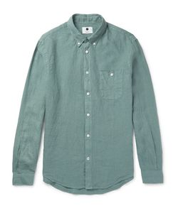 NN07 | New Derek Slim-Fit Button-Down Collar Linen Shirt