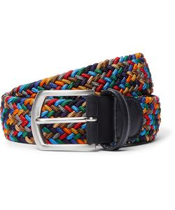 ANDERSON'S | 3.5cm Leather-Trimmed Woven Elastic Belt