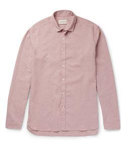 Oliver Spencer | Clerkenwell Tab-Collar Mélange Cotton And Linen-Blend Shirt