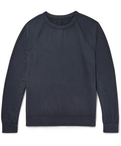 SAVE KHAKI UNITED | Garment-Dyed Fleece-Back Supima Cotton-Jersey Sweatshirt Midnight