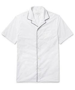 Officine Generale | Dario Contrast-Piped Camp-Collar Cotton-Poplin Shirt