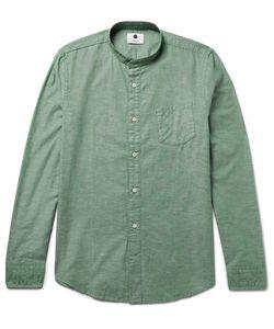 NN07 | Samuel Slim-Fit Grandad-Collar Cotton And Linen-Blend Oxford Shirt