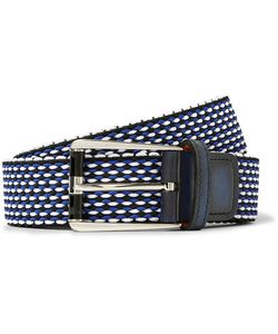 BERLUTI   3cm Leather-Trimmed Woven Cotton Belt