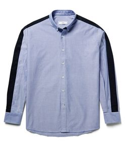Ami | Button-Down Collar Twill-Panelled Cotton Oxford Shirt