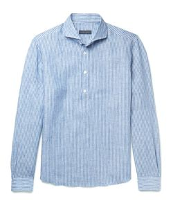 Thom Sweeney | Cutaway-Collar Striped Linen Shirt