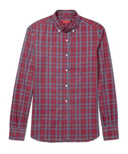 Isaia | Slim-Fit Button-Down Collar Checked Cotton Shirt
