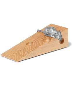 Linley | Mr Mouse Oak And Pewter Doorstop