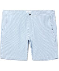 Onia | Calder Long-Length Striped Seersucker Swim Shorts