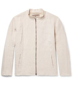 BY WALID | Collarless Raw-Edged Linen Jacket