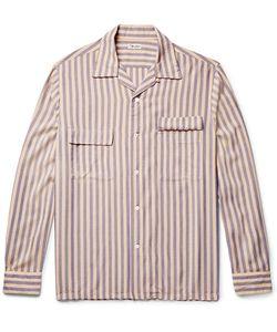 Camoshita | Slim-Fit Camp-Collar Striped Voile Shirt