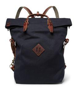 BLEU DE CHAUFFE | Convertible Leather-Trimmed Canvas Backpack