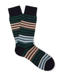 PANTHERELLA | Sudbury Striped Merino Wool-Blend Socks