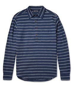ALEX MILL   Half-Placket Striped Linen And Cotton-Blend Shirt Storm