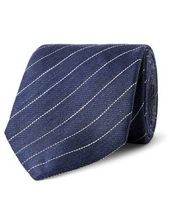 Dunhill | 7.5cm Striped Linen And Mulberry Silk-Blend Tie