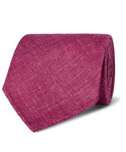 Drake's | 8cm Herringbone Wool Silk And Linen-Blend Tie