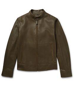 BERLUTI | Suede-Trimmed Leather Biker Jacket