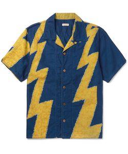 Kapital   Camp-Collar Thunder-Print Cotton And Linen-Blend Shirt