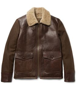 Schott | Type N-5a Shearling-Trimmed Leather And Wool-Blend Jacket