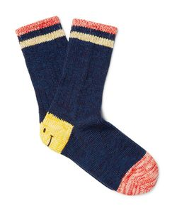 Kapital | Smiley-Face Striped Cotton And Hemp-Blend Socks