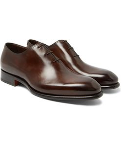 Santoni | Burnished-Leather Oxford Shoes