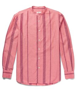 Eidos | Slim-Fit Grandad-Collar Striped Cotton And Silk-Blend Shirt