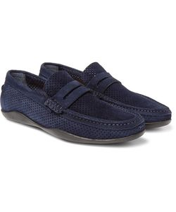 Harrys Of London | Basel 4 Perforated Suede Penny Loafers