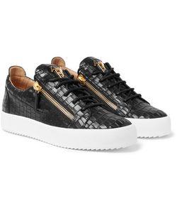 Giuseppe Zanotti Design | Logoball Croc-Effect Leather Sneakers