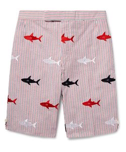 Thom Browne | Shark-Embroidered Striped Cotton-Seersucker Shorts